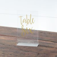 Acrylic Table Numbers with Gold Script